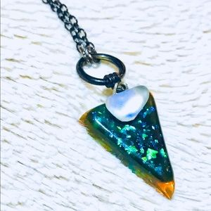 Handmade triangle resin necklace